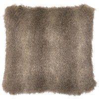 Faux Cape Grey Fox Fur Pillow