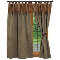 Thistle Faux Suede Draperies with Attached Valance