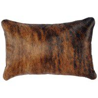 Dark Brindle Hair-on-Hide Accent Pillow