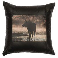 Black Leather Moose Pillow