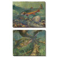 Brook Trout and Largemouth Bass Wrapped Canvas Set