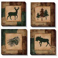 Pine Lodge Wrapped Canvas Quartet