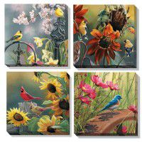 Woodland Songbirds Wrapped Canvas Quartet