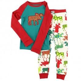Patterned Moose Kids PJ Set