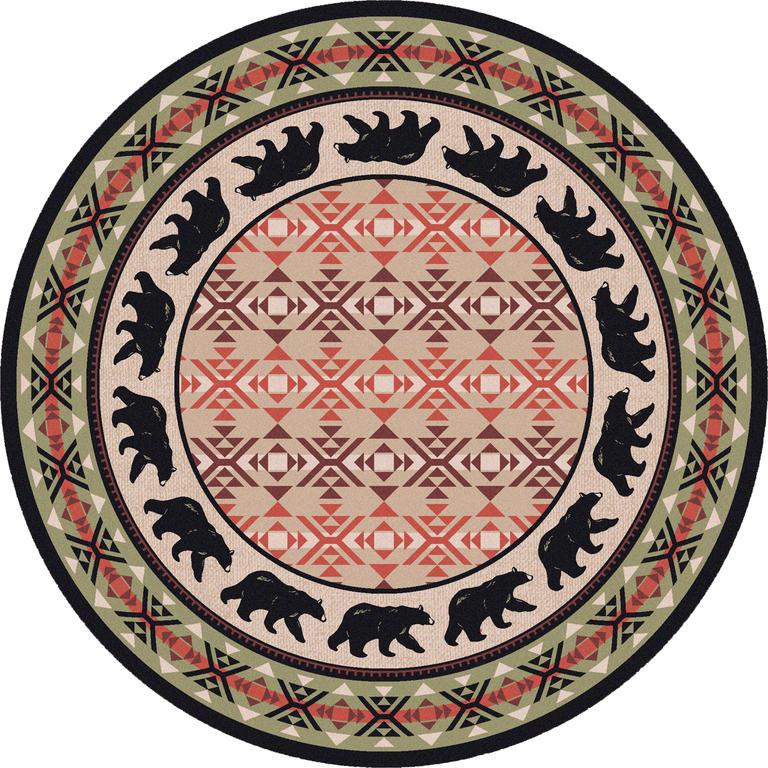 Round Rug - Bear Motif